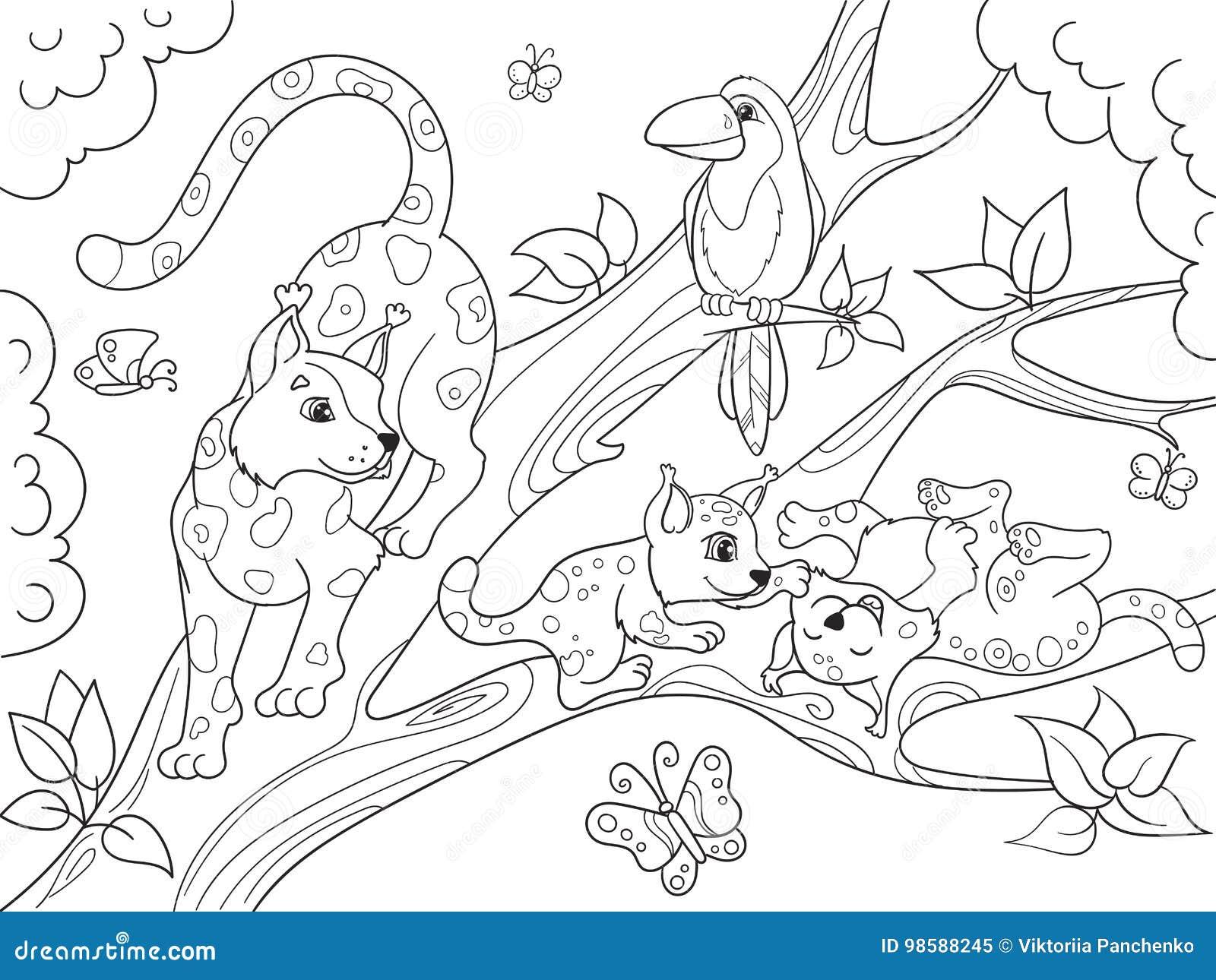 Famille De Bande Dessinée De Livre De Coloriage Des Enfants Des Léopards Sur La Nature