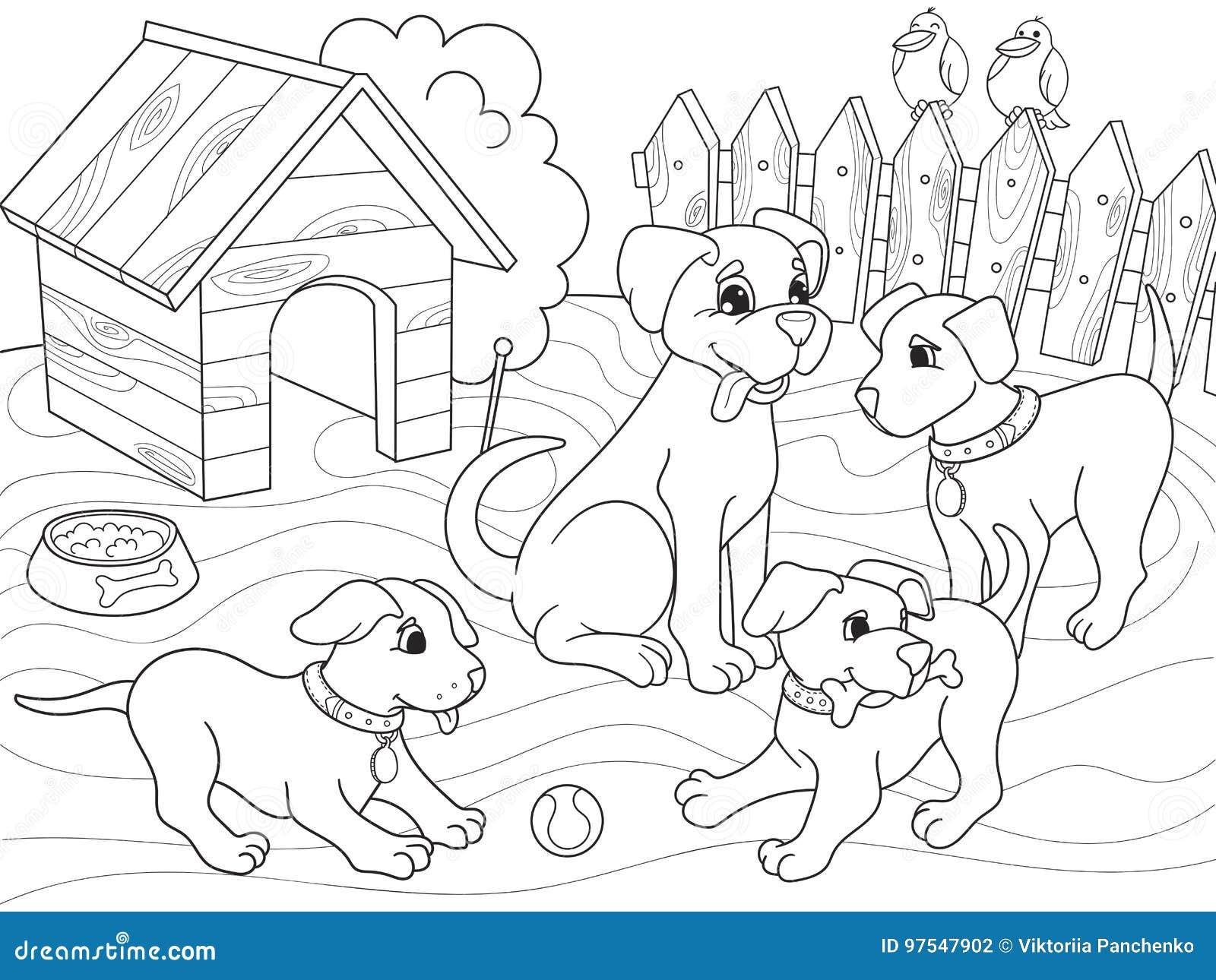Coloriage Famille Animaux.Famille De Bande Dessinee De Livre De Coloriage Des Enfants Sur La