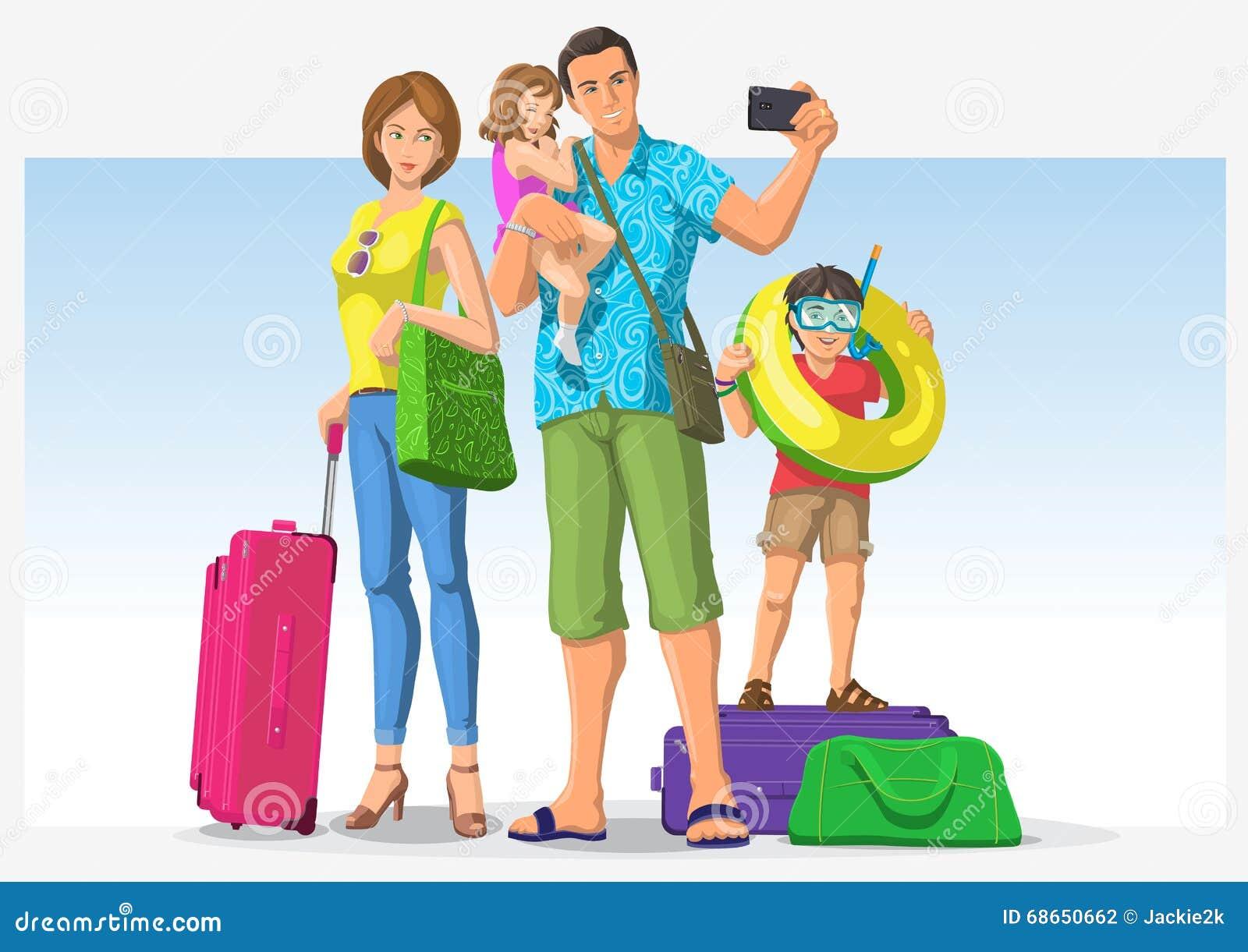 Famille de déplacement partant en vacances