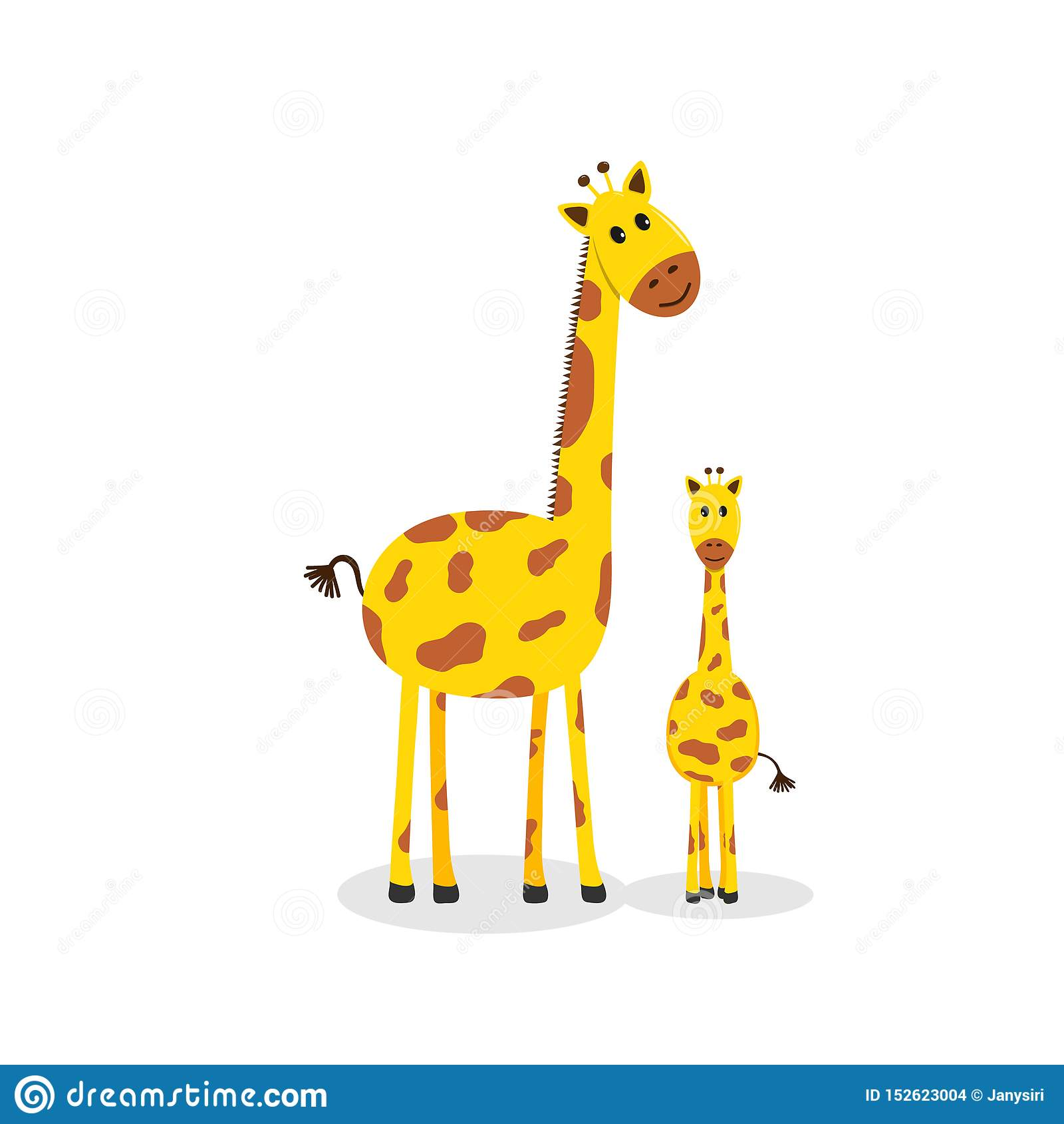 Famille de girafe, girafe mignonne de bande dessinée