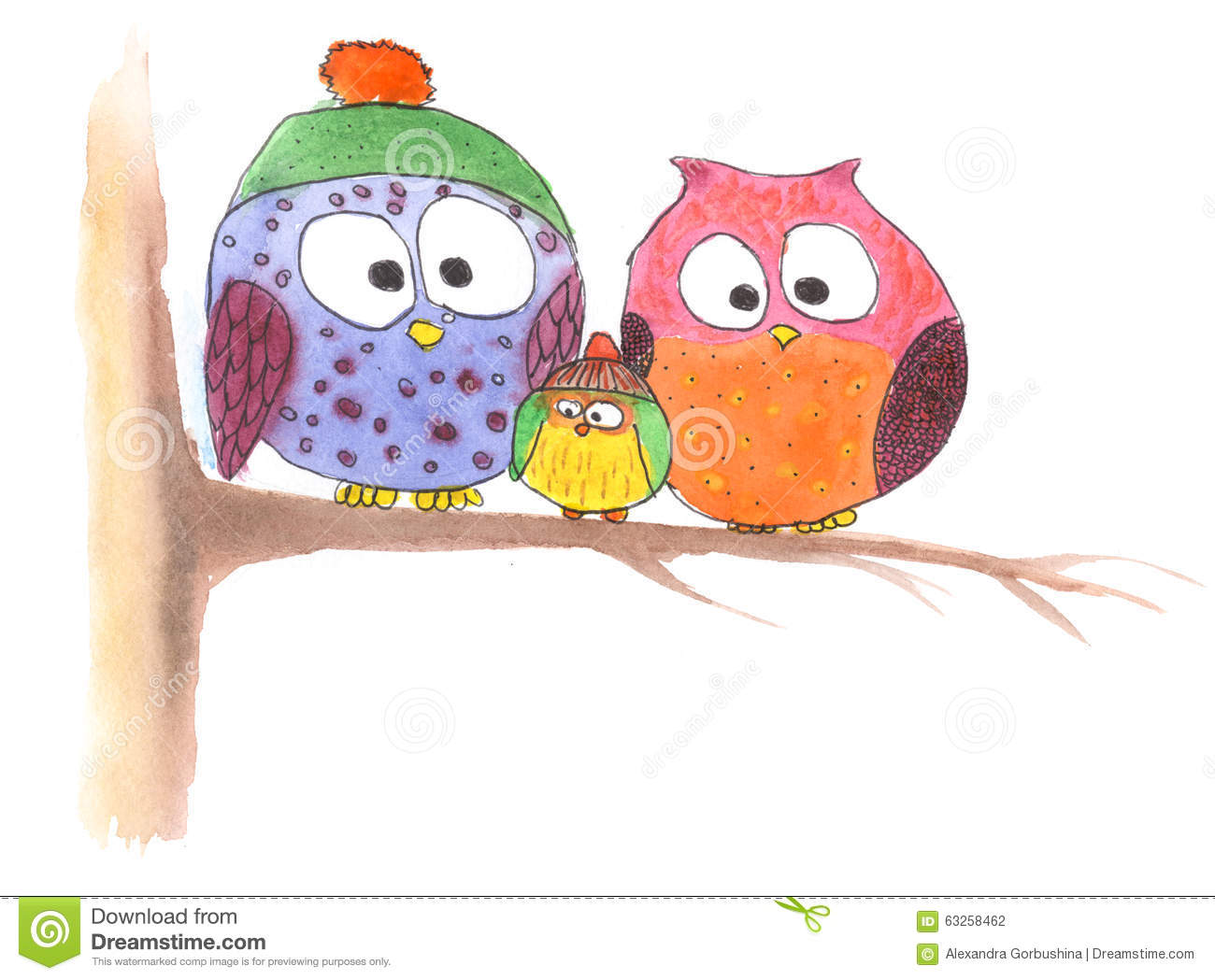 Famille de hibou sur l 39 arbre dans le dessin simple illustration stock illustration du croquis - Dessin arbre simple ...