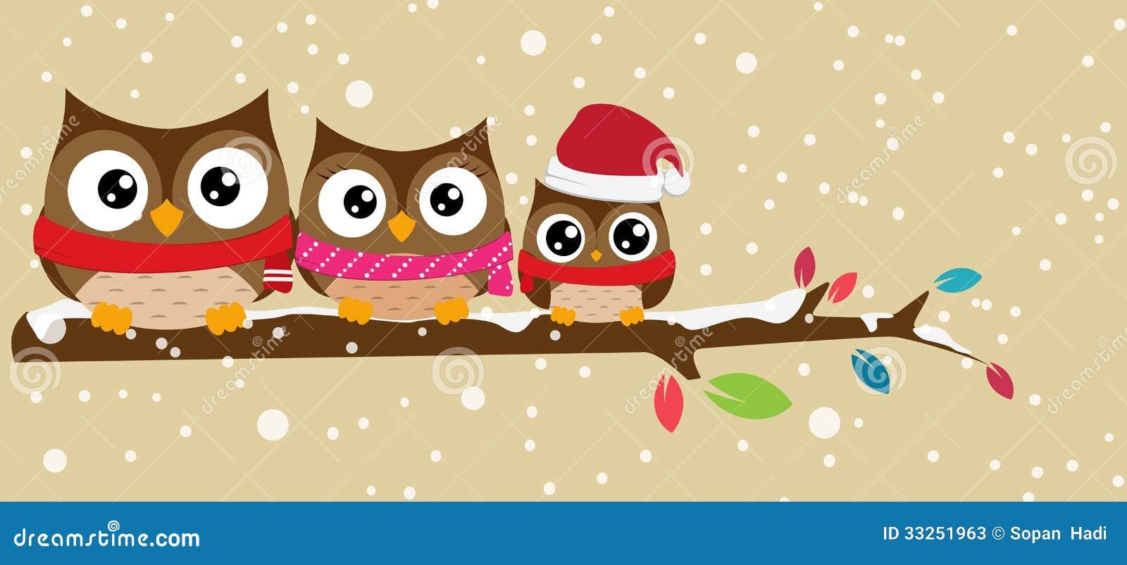 Famille de hibou sur la bannière de Noël de branche