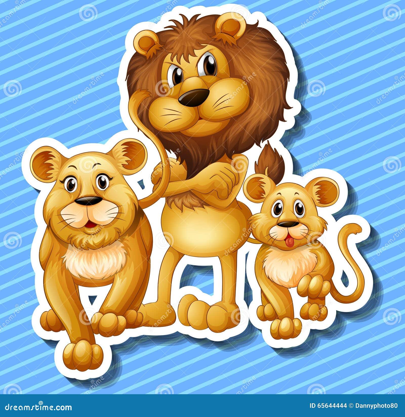 Famille de lion avec le petit petit animal