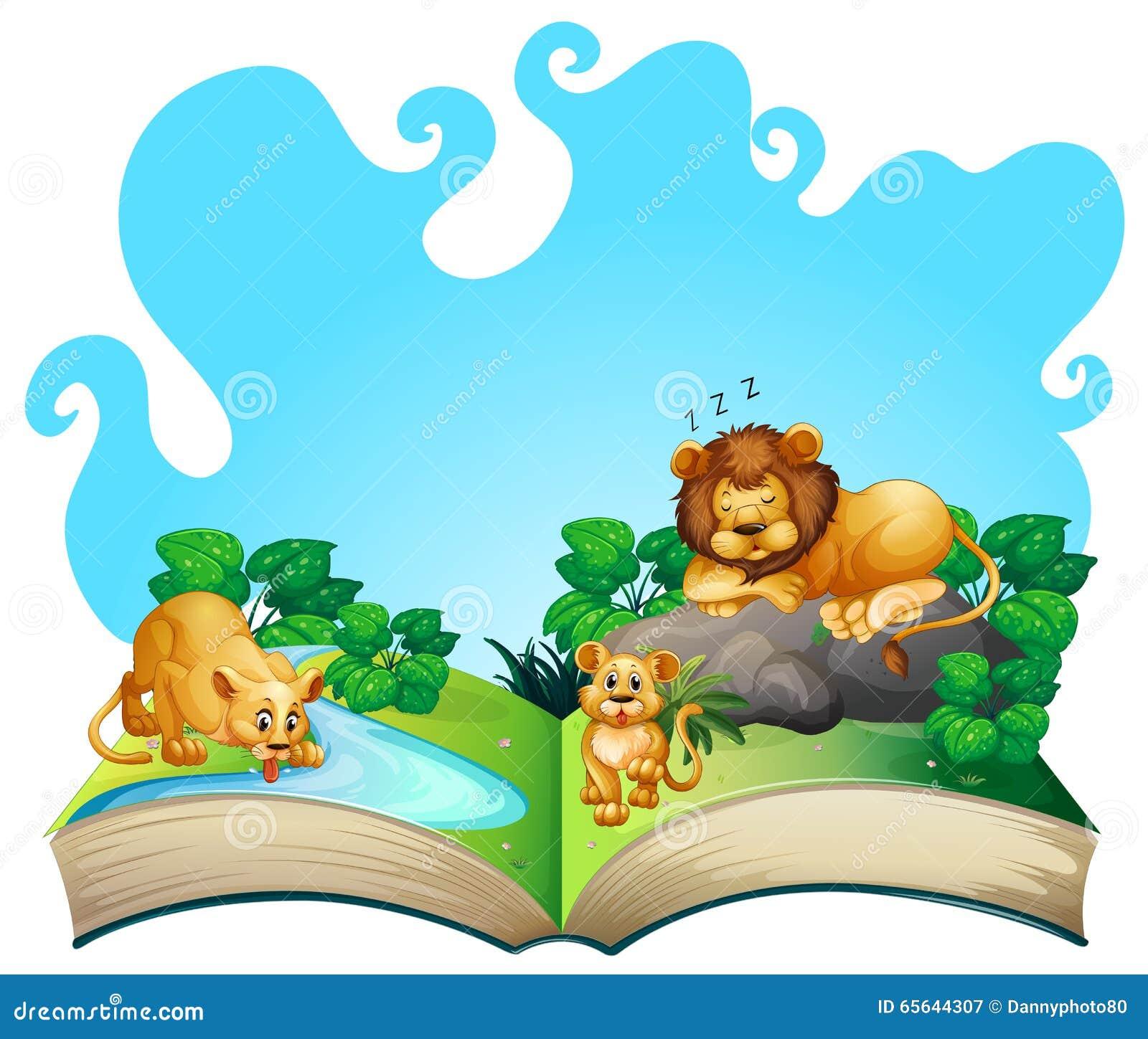 Famille de lion par la rivière