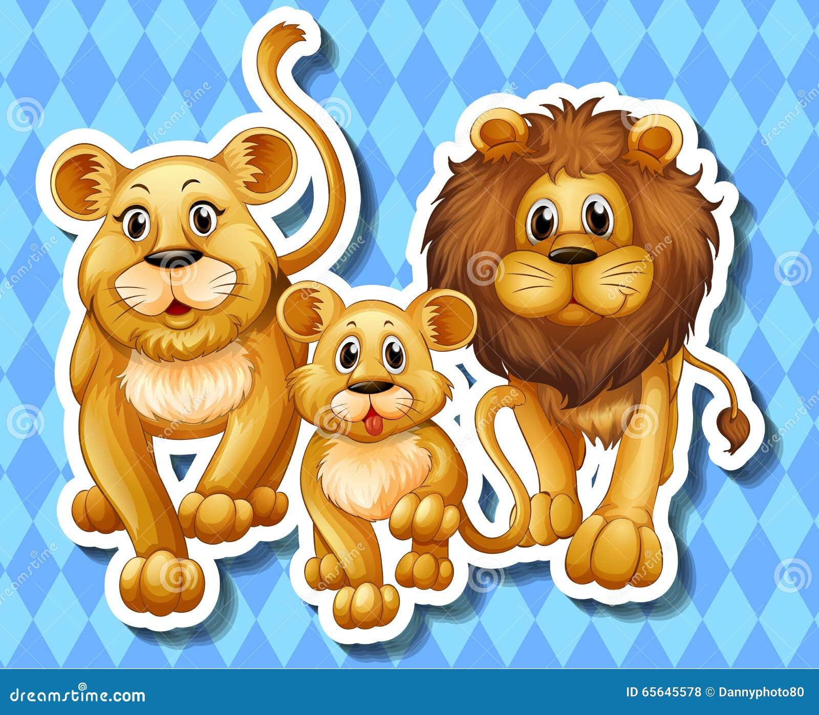 Famille de lion sur le fond bleu