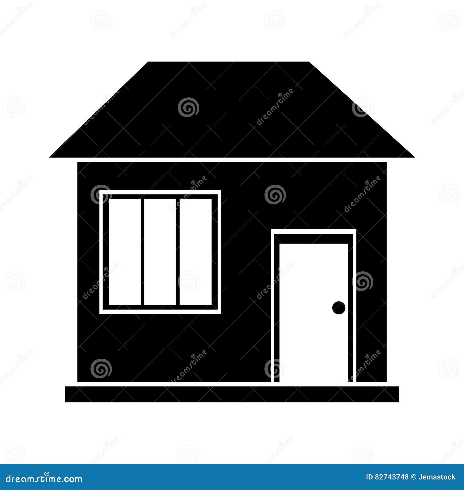 Famille de maison de maison de silhouette résidentielle