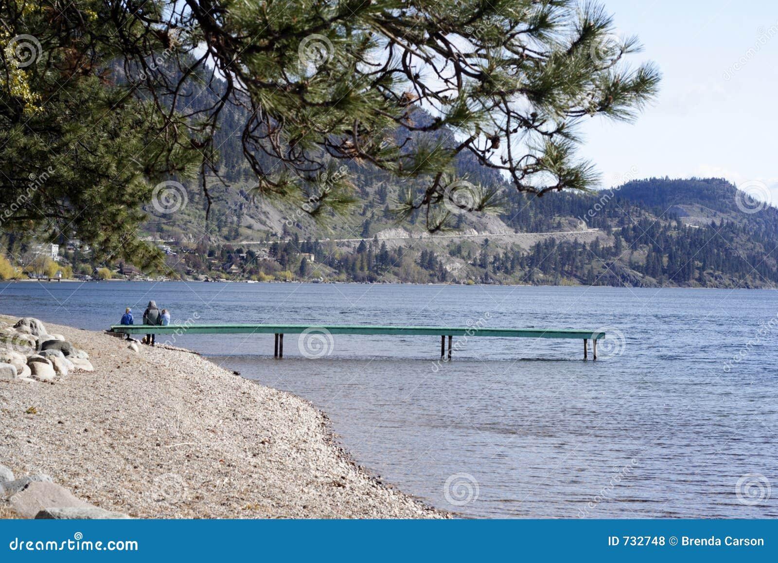 Famille de rivage de lac
