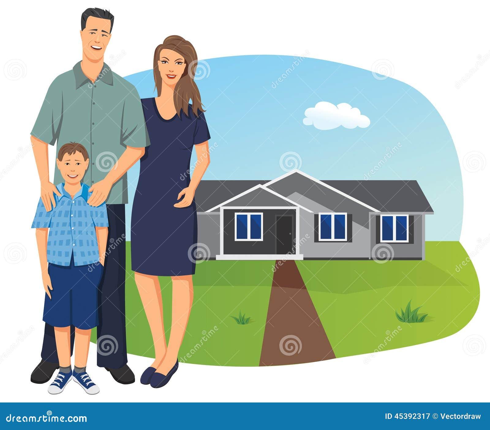 Famille Devant Leur Maison Illustration De Vecteur