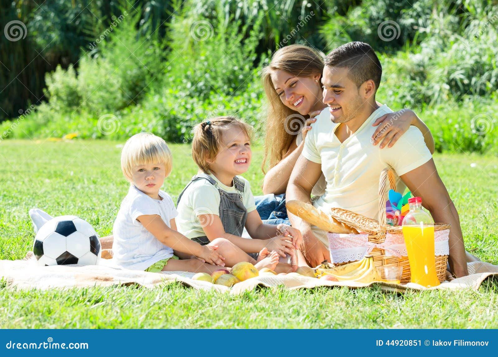 famille europ enne avec des enfants ayant le pique nique photo stock image 44920851. Black Bedroom Furniture Sets. Home Design Ideas