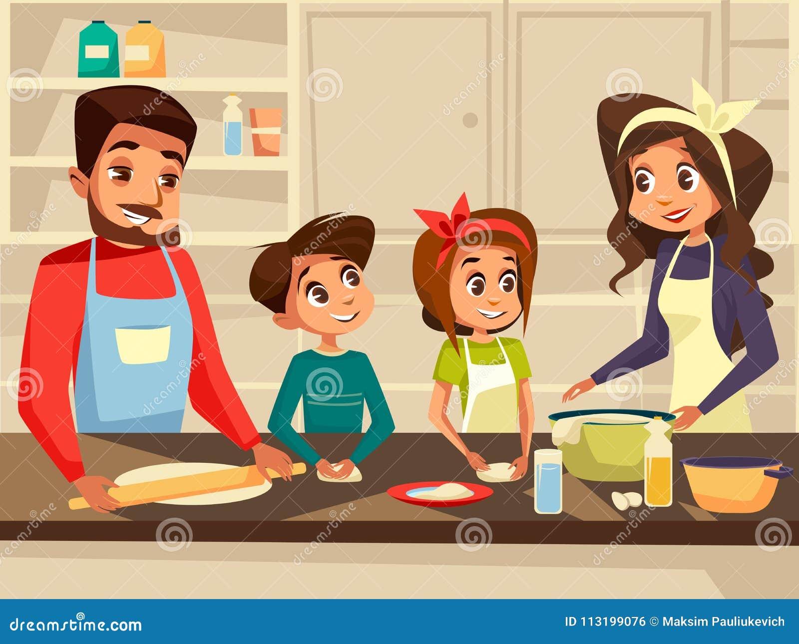 Famille européenne moderne faisant cuire à l illustration plate de bande dessinée de vecteur de cuisine de la famille préparant e