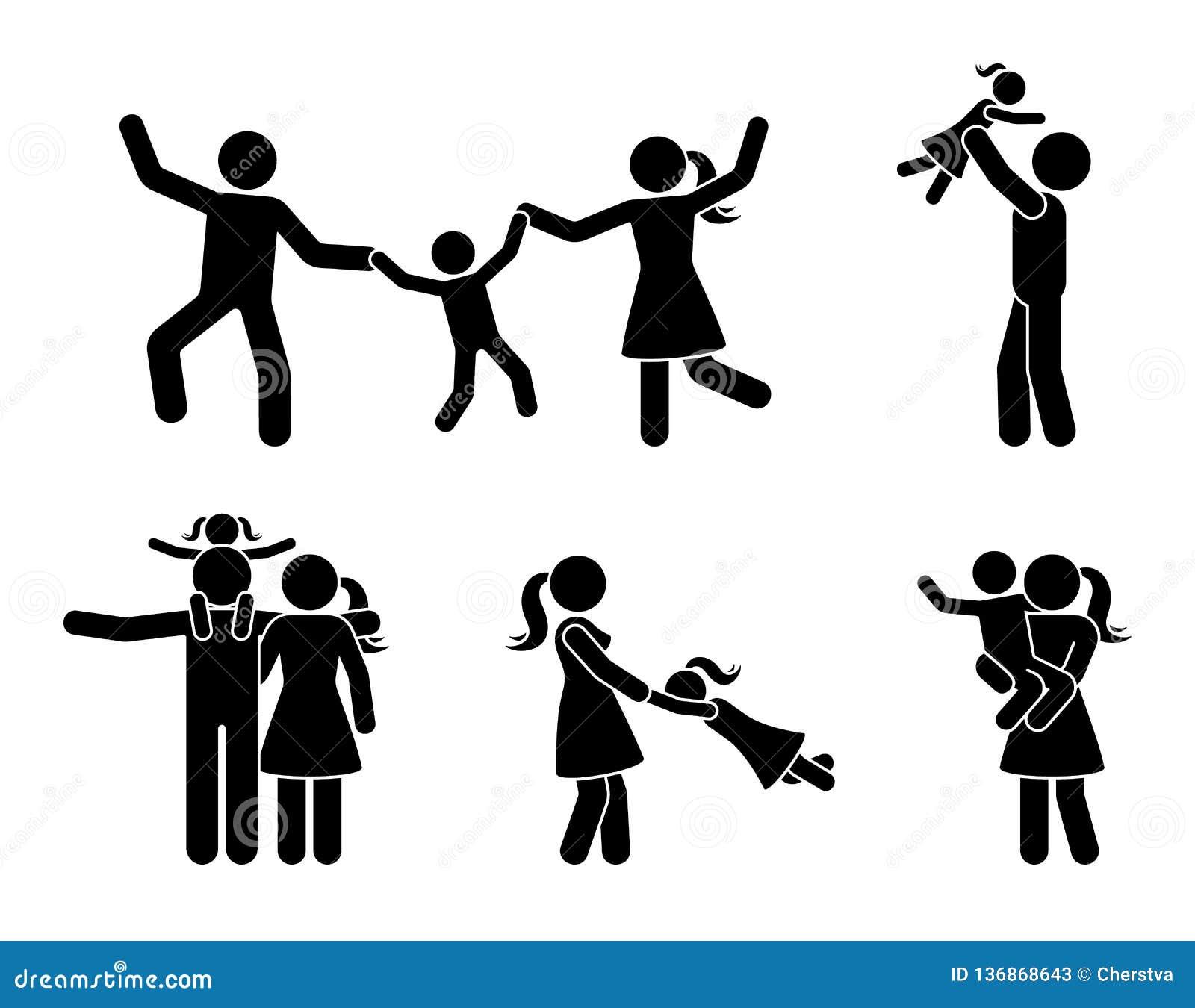 Famille heureuse de chiffre de bâton ayant l ensemble d icône d amusement Parents et enfants jouant ensemble le pictogramme