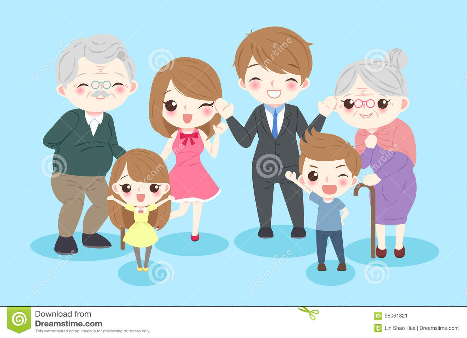 Famille heureuse de dessin animé