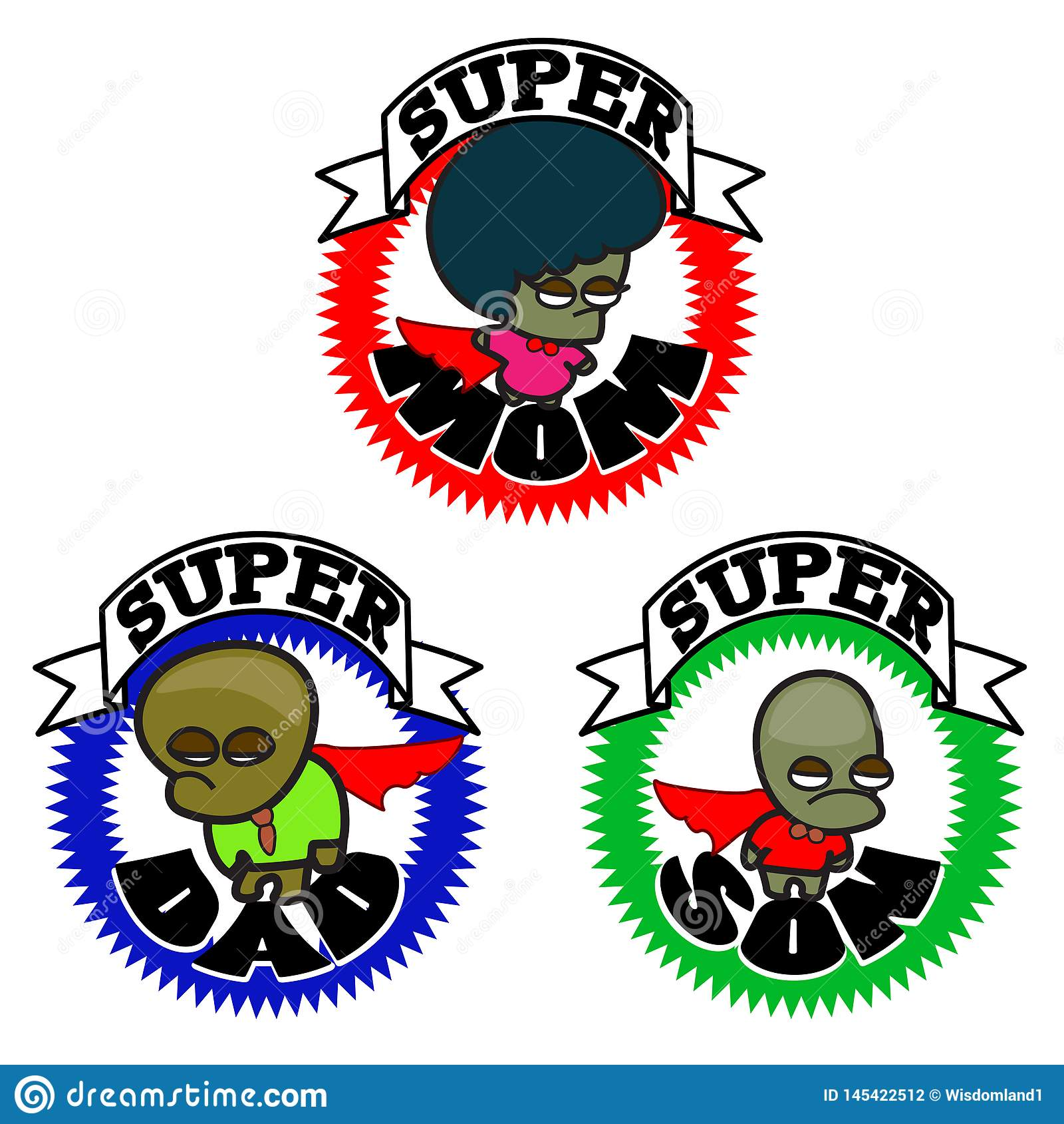 Famille heureuse de superh?ros - ic?ne graphique de bande dessin