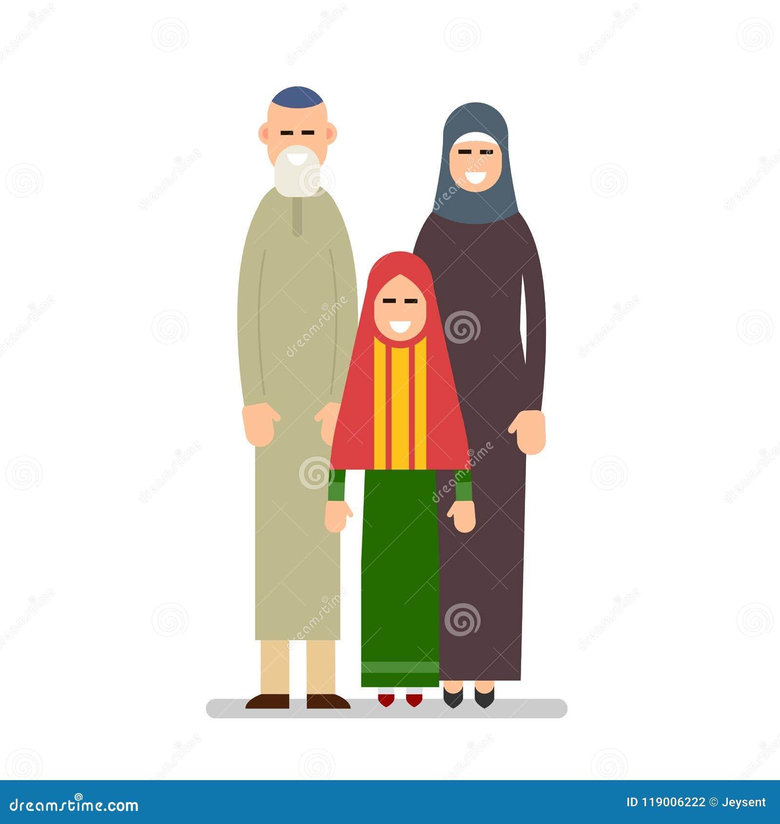 Famille Musulmane Grand Père Grand Mère Petite Fille