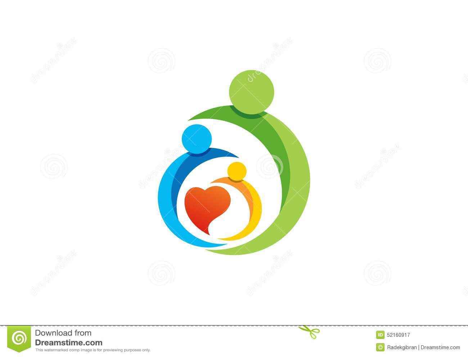 Famille, parent, enfant, coeur, logo, parenting, soin, cercle, santé, éducation, vecteur de conception d icône de symbole