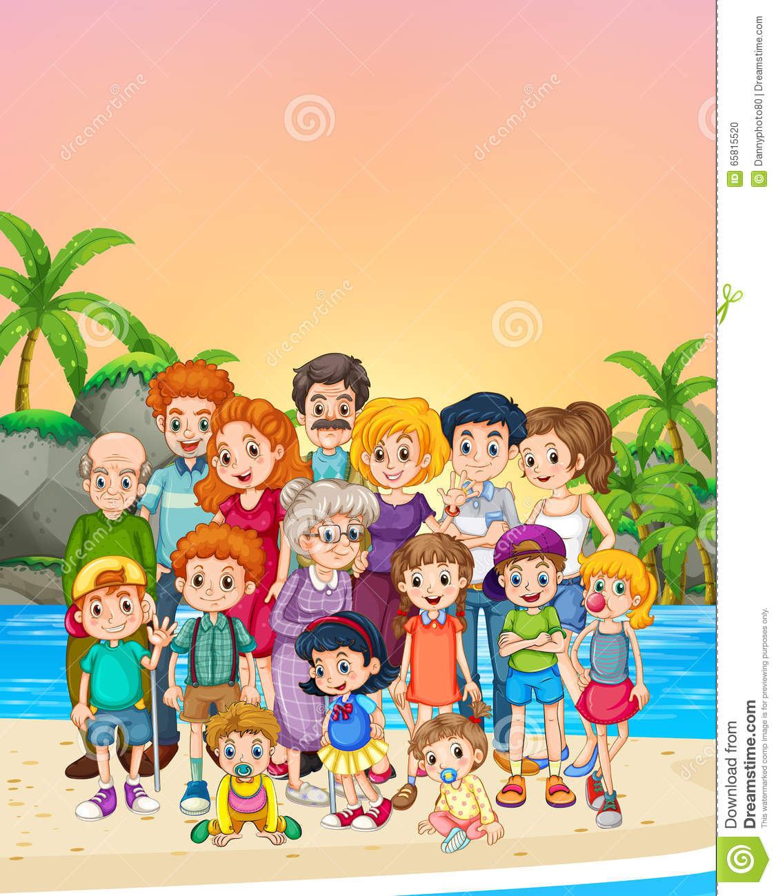 Familly Members Standing On The Beach Stock Vector - Image: 65815520