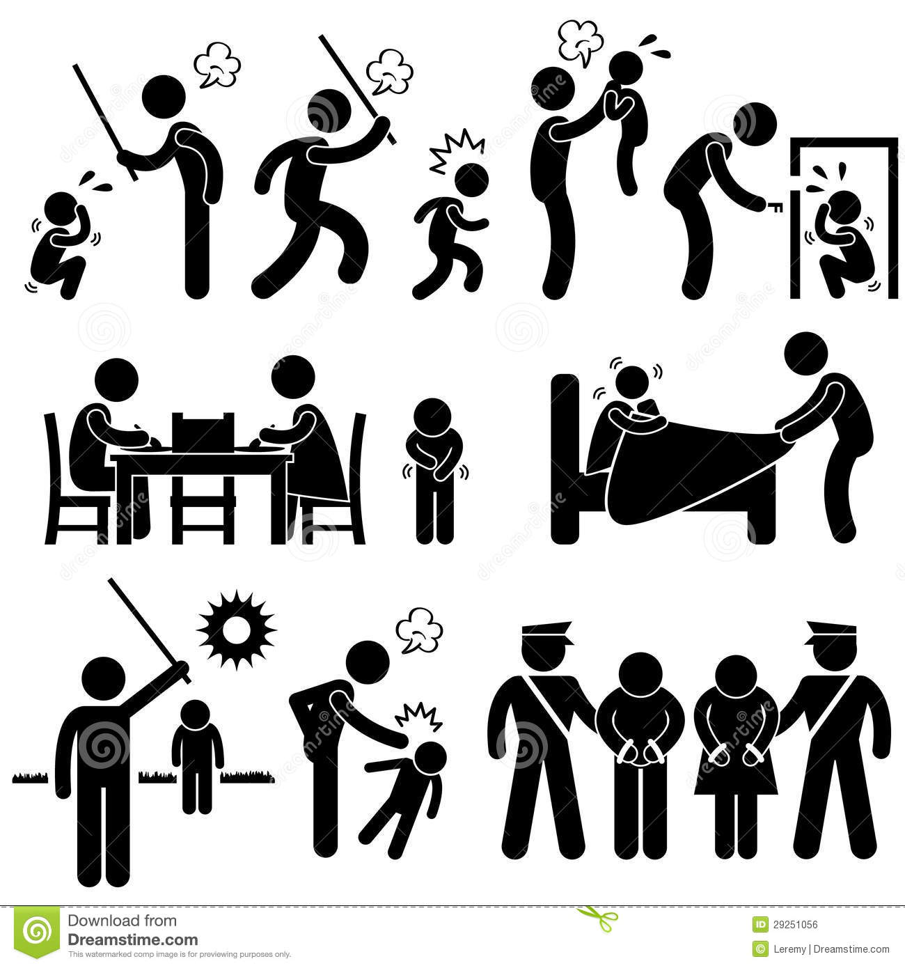 set of pictograms representing children being abused by father and ...