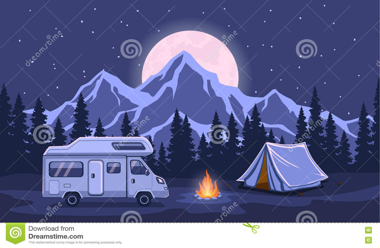 Family Adventure Camping Night Evening Scene
