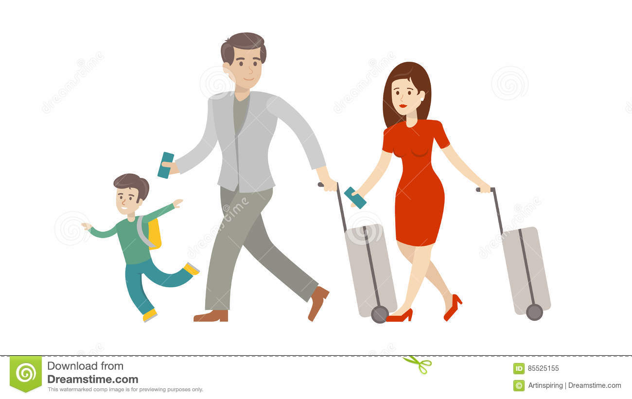 Family in airport  stock vector  Illustration of daughter