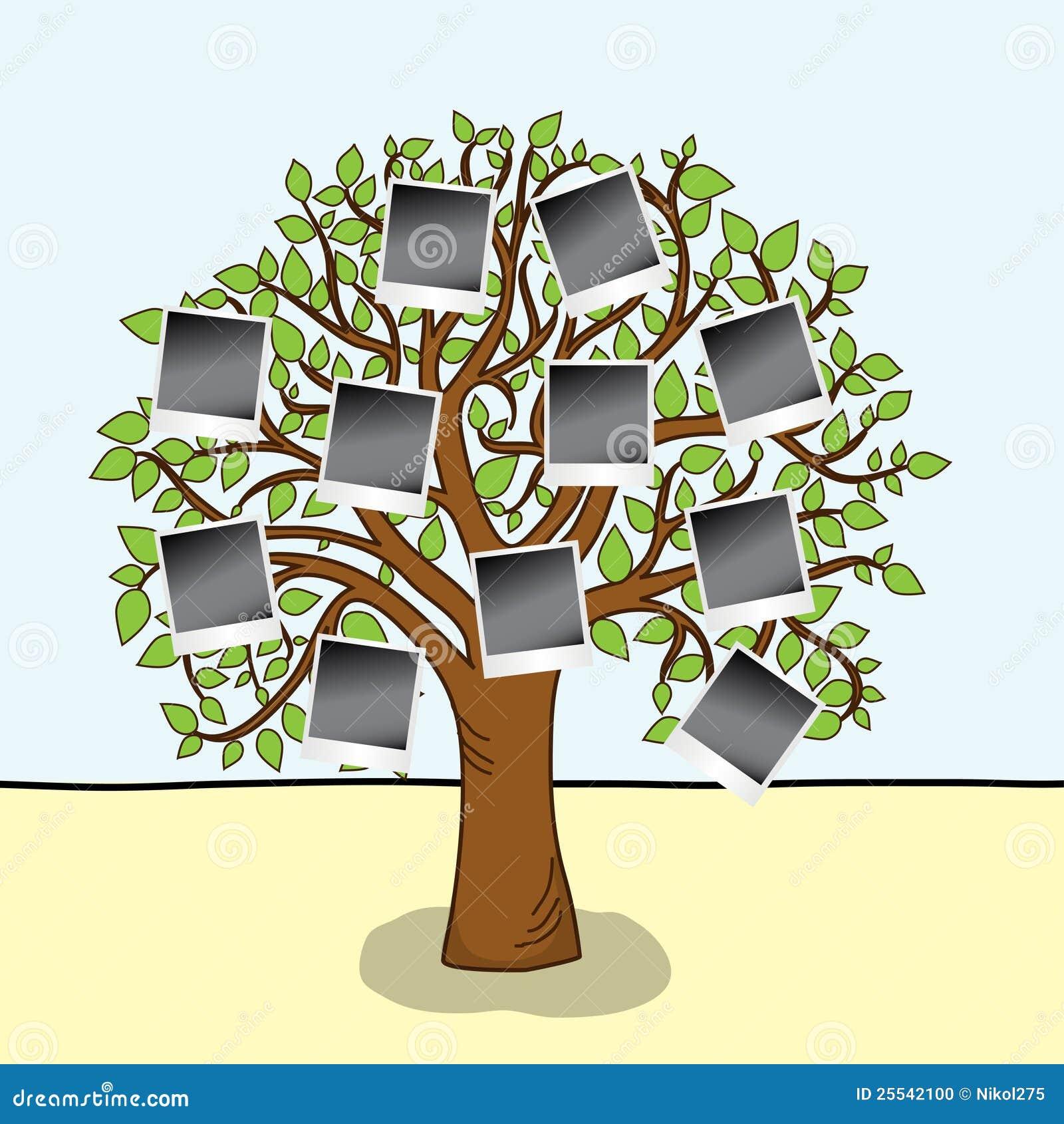 Family album tree with frames for your photos stock for Nombres de arboles en ingles