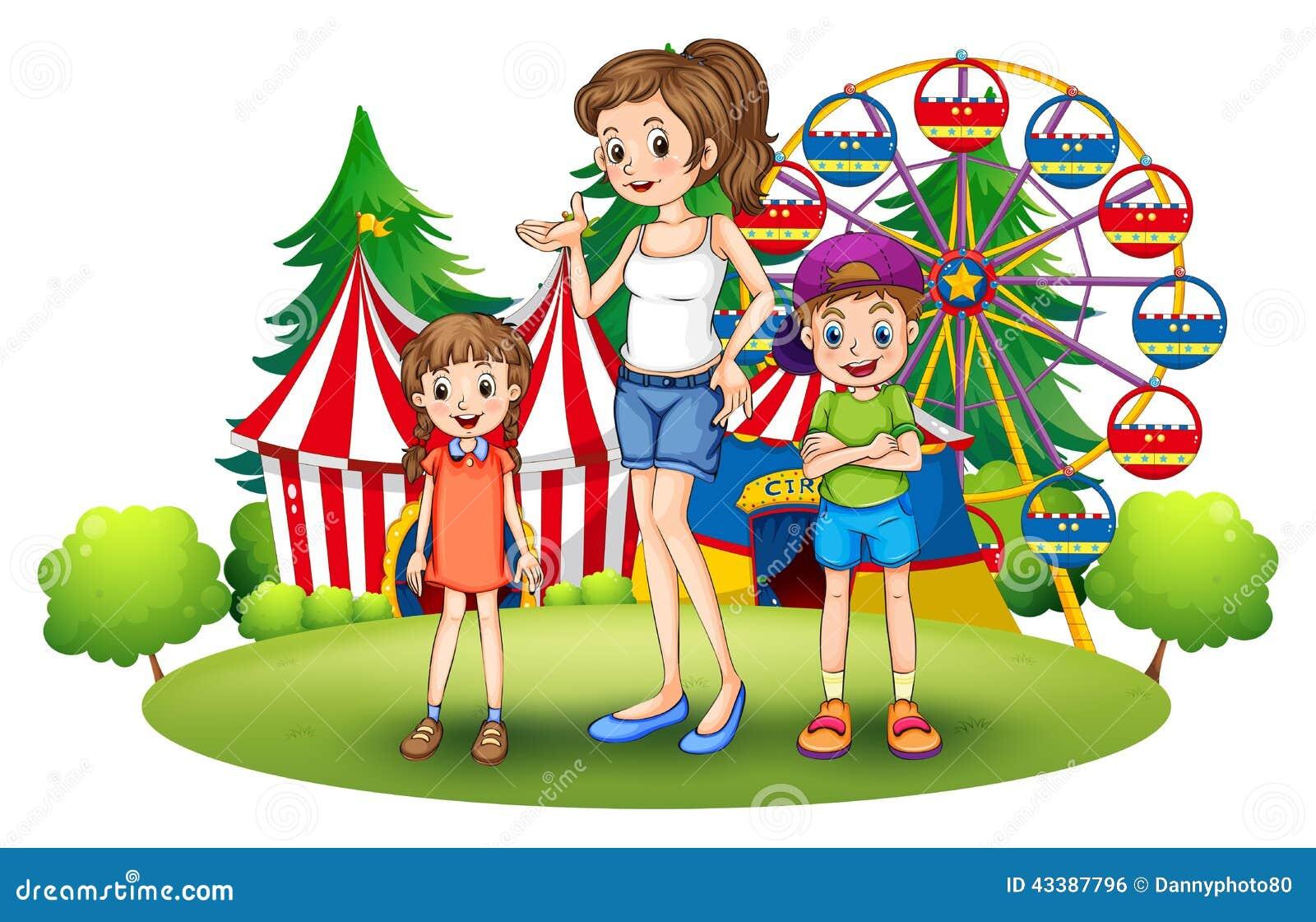 El Parque De Atracciones De Dibujos Animados Ven A Jugar: A Family At The Amusement Park With A Ferris Wheel Stock