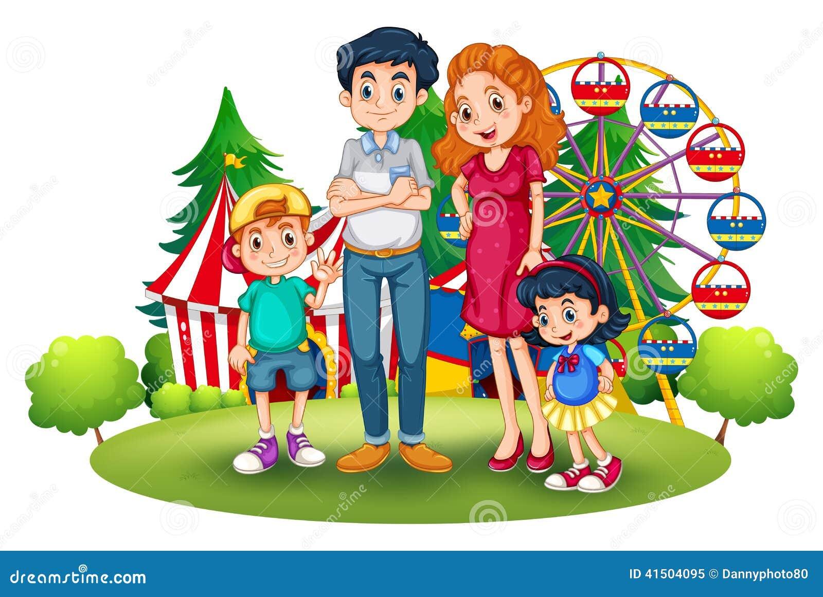 Home Garden Design Games A Family At The Amusement Park Stock Vector Image 41504095