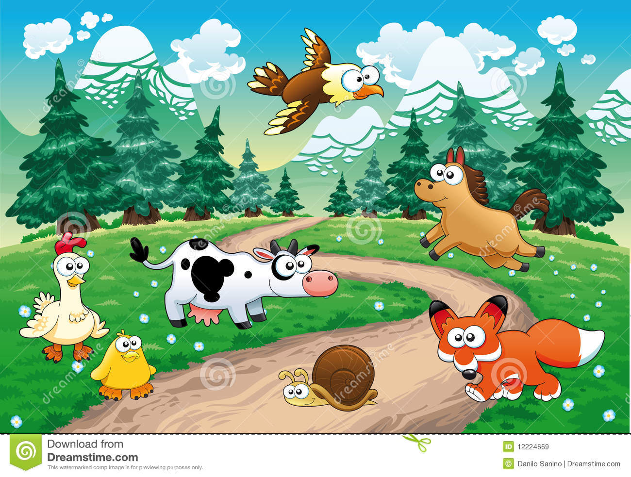 Family of animals with background.