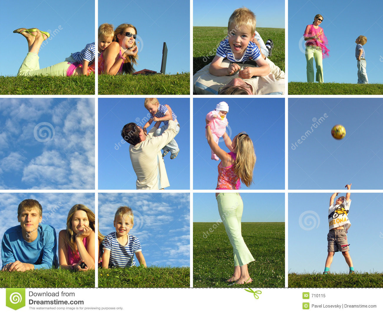 Download Family in summer stock image. Image of childhood, healthy - 710115