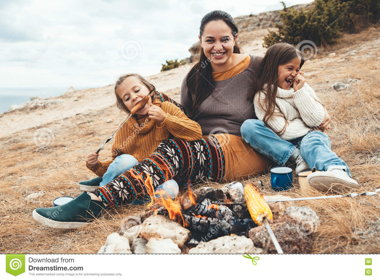 Family in autumn hike