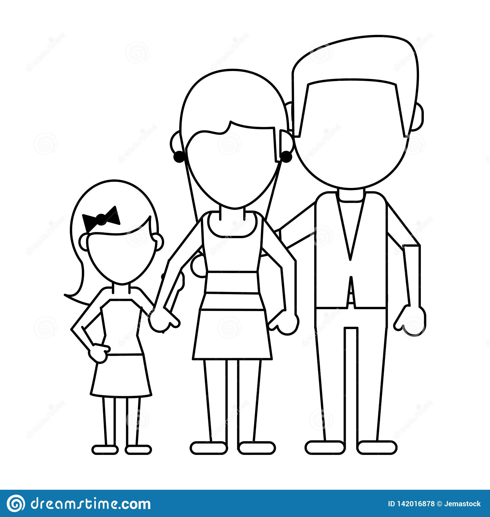 Family Avatar Faceless Cartoon In Black And White Stock Vector Illustration Of Default Parents 142016878