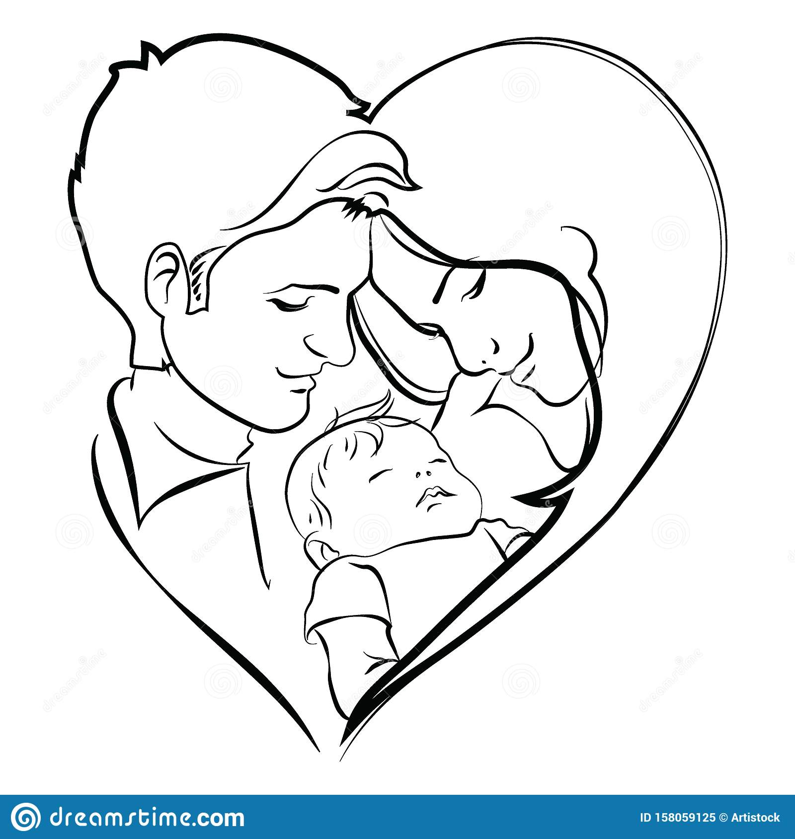 Family With Baby Father And Mother Hug Their Child Black And White Logo Of A Young Family Linear Art Tattoo Stock Vector Illustration Of Daughter Cute 158059125