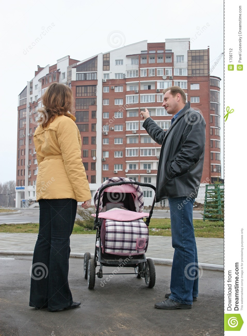 Download Family With Baby And New House Stock Photo - Image of estate, front: 1708712