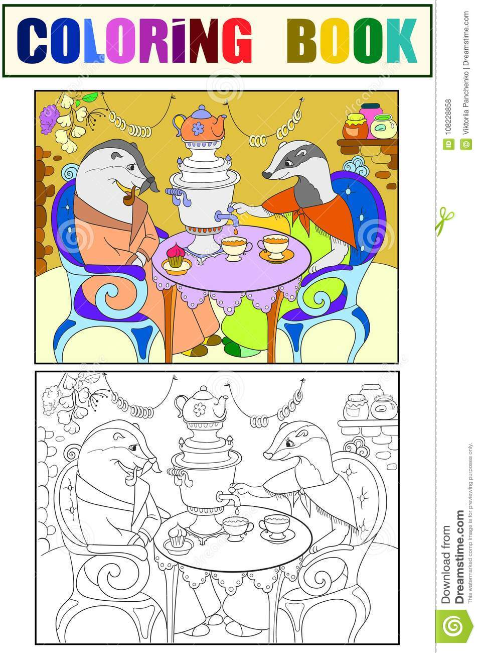 Family Of Badgers In Their House In The Kitchen Coloring Book For ...