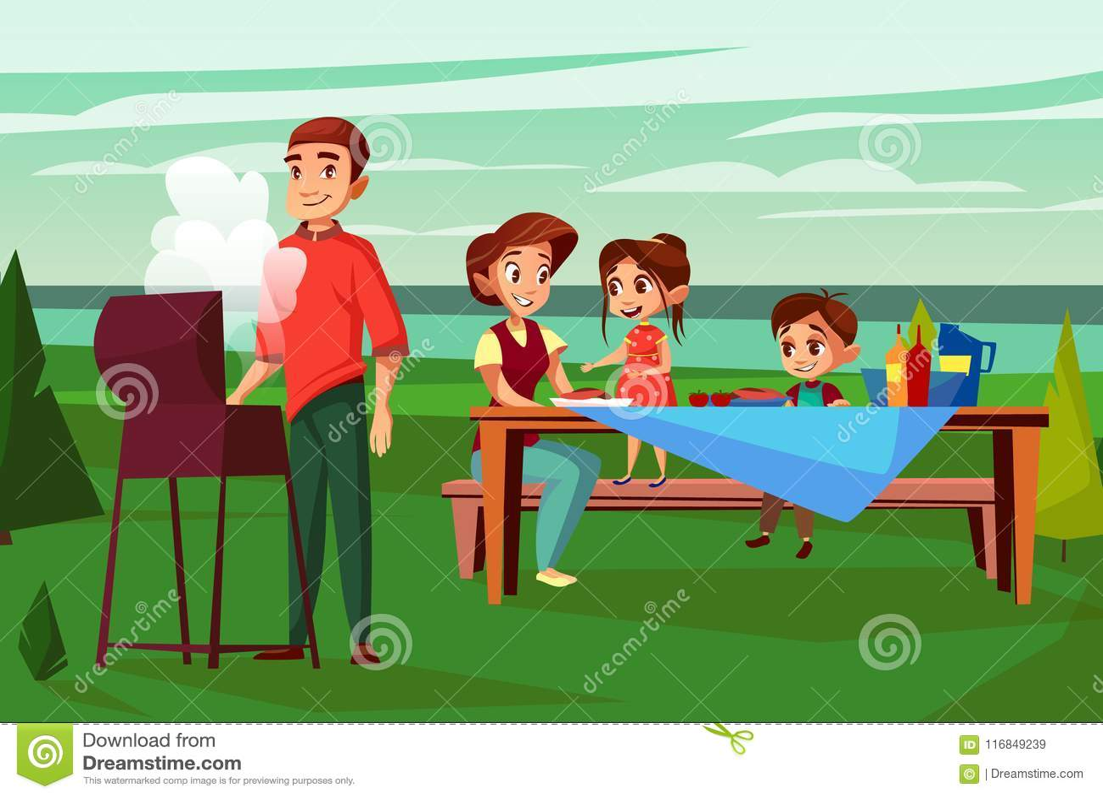 Family barbecue picnic vector cartoon illustration