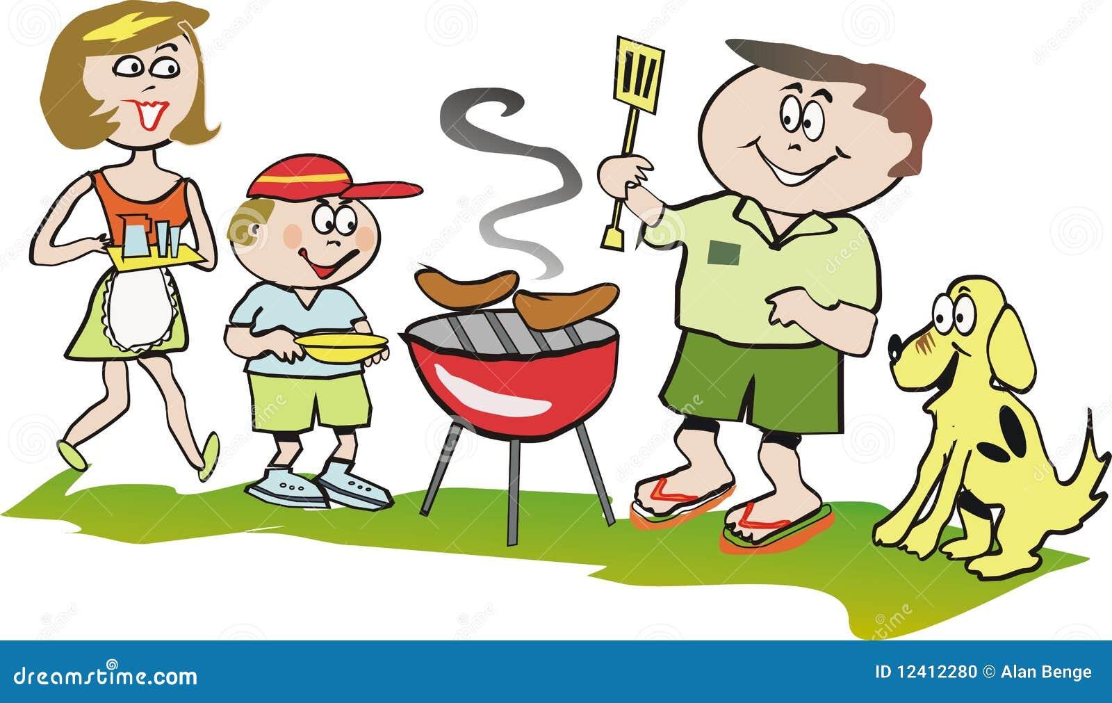 Family barbeque cartoon