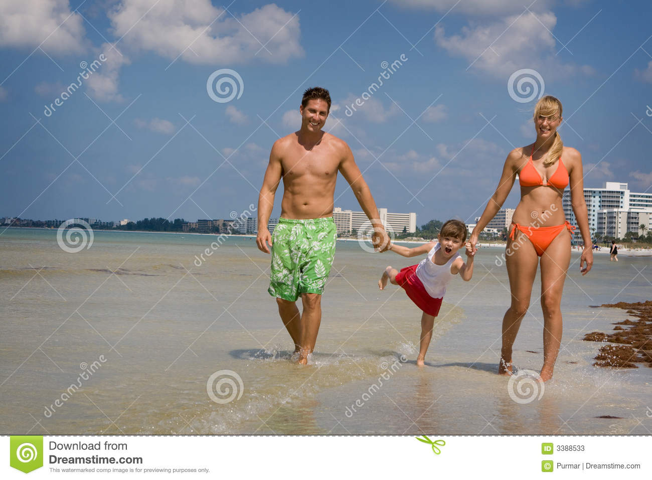 Family on beach vacation