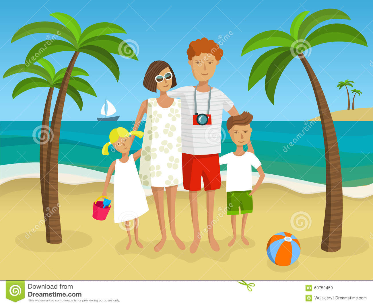 Family On The Beach - Vector Illustration Stock Vector ...