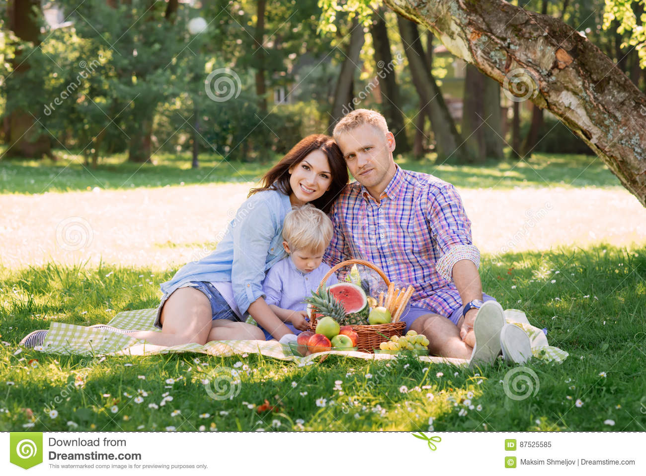 Family being together on vacation having a picnic.
