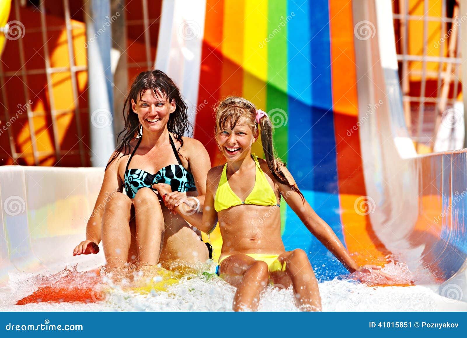 Family In Bikini Sliding Water Park Stock Photo Image