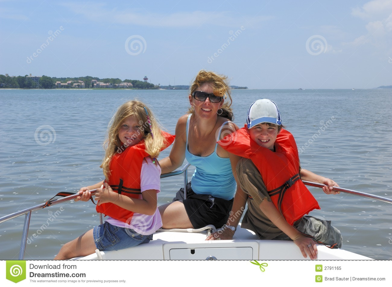 Family on boat