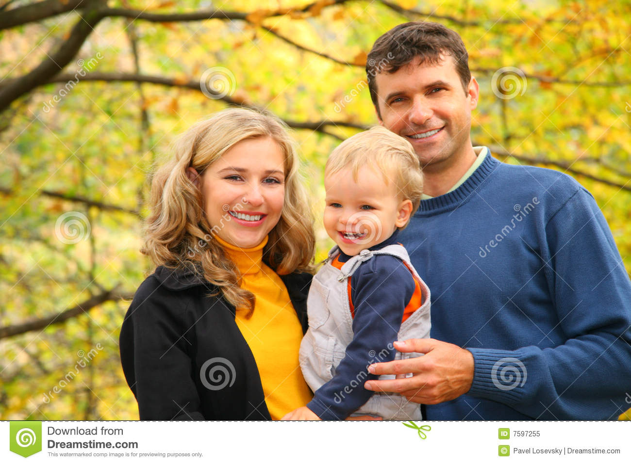 Download Family With Boy In Autumn Park Stock Image - Image of close, male: 7597255