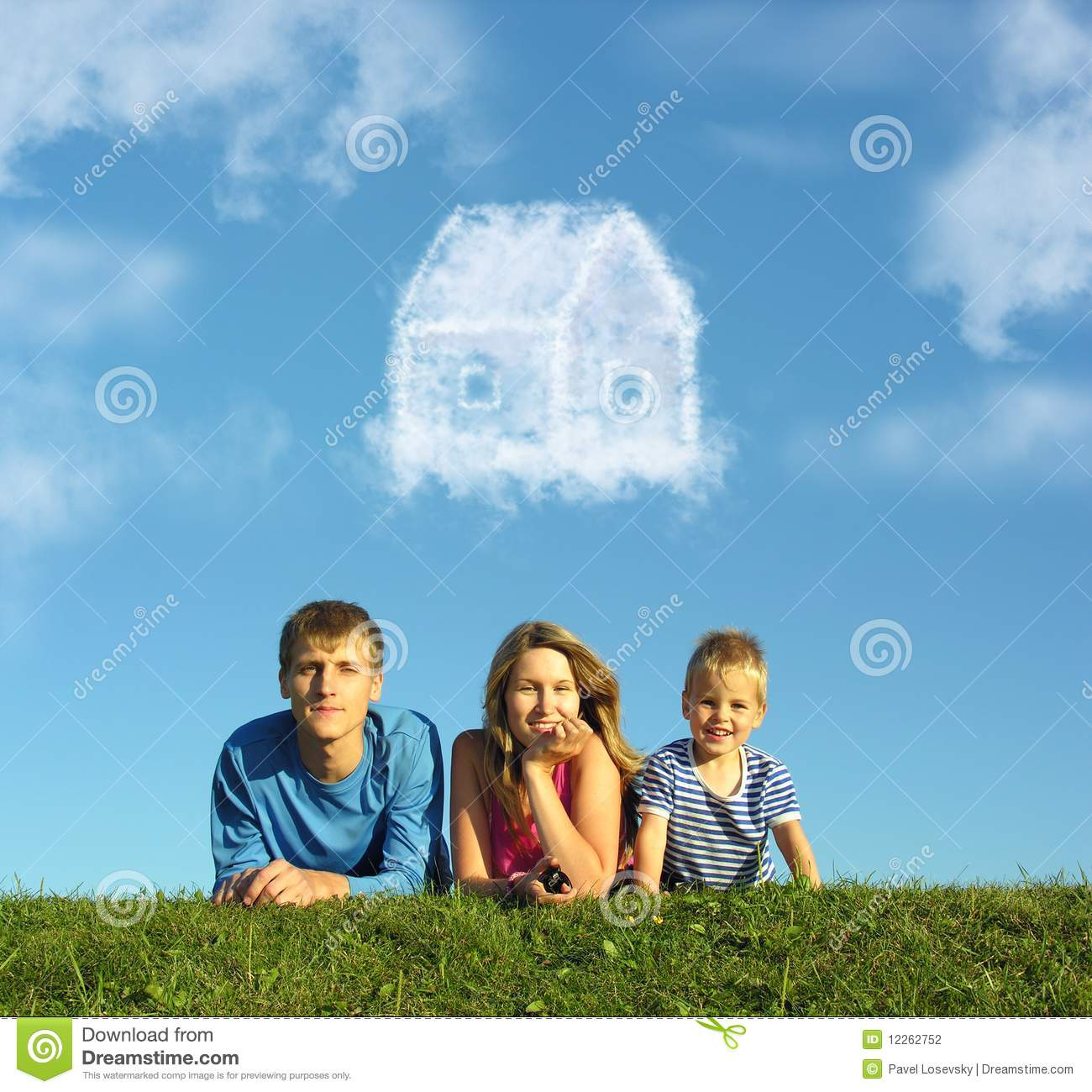 Download Family With Boy On Grass And Dream Cloud House Stock Photo - Image of portrait, building: 12262752