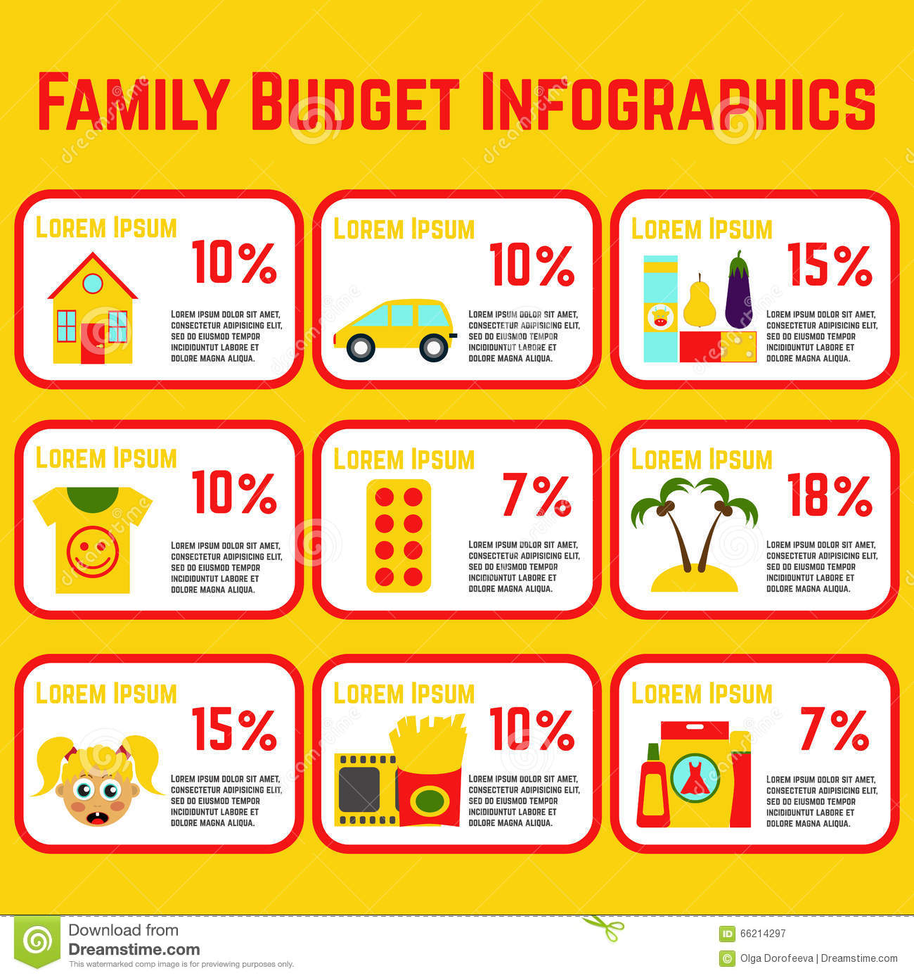 Family Budget Info Graphic Stock Vector Image 66214297