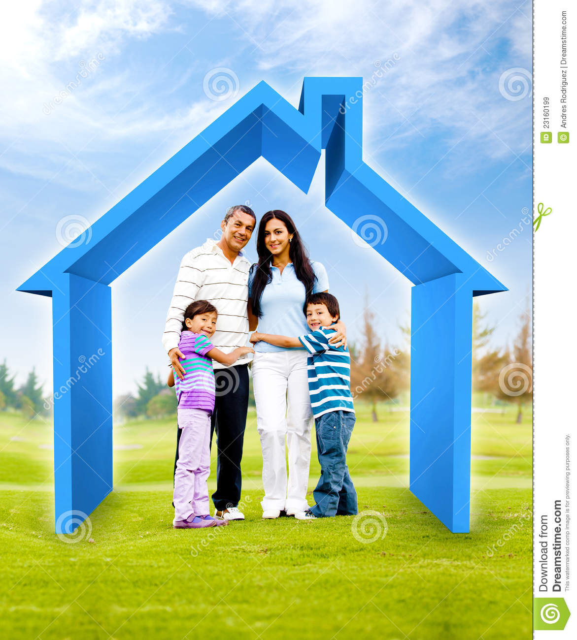 Family Buying A House Stock Illustration Image Of Girl