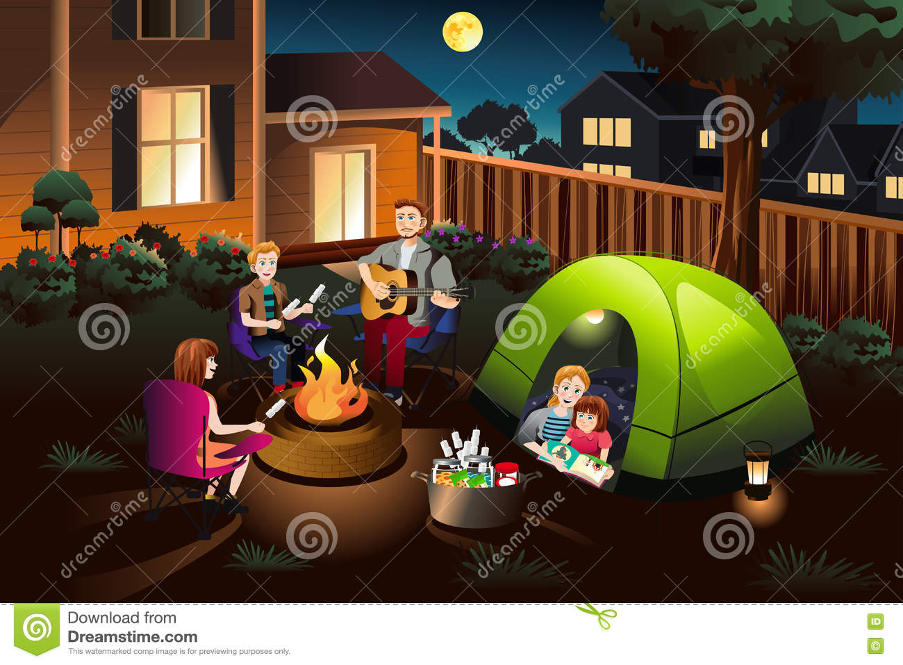 Family Backyard Camping :  vector illustration of happy family camping together in the backyard