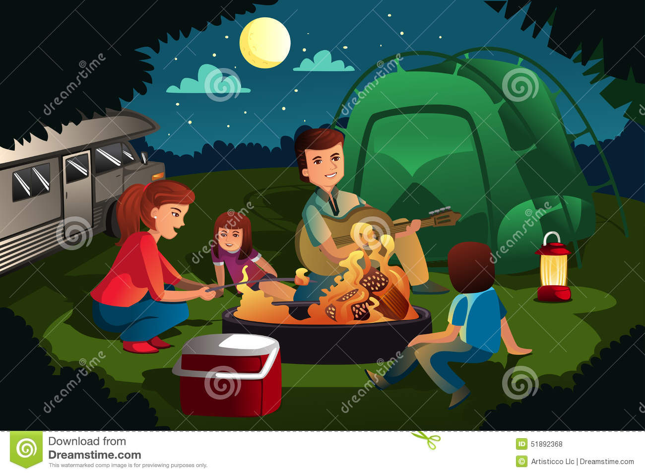Family Camping In The Forest Stock Vector Image 51892368