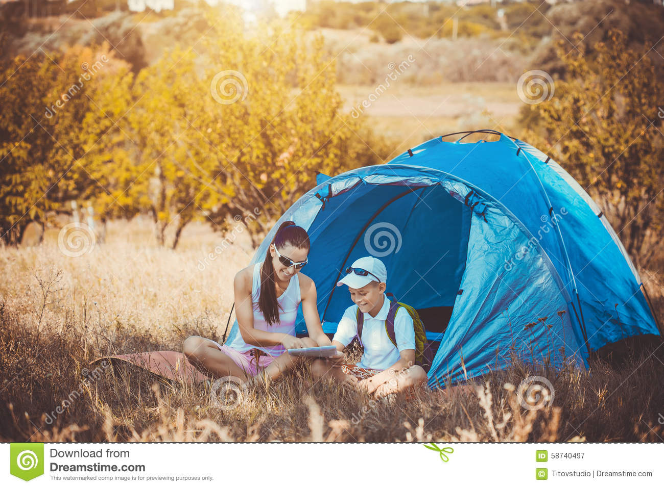 son camping and Mom