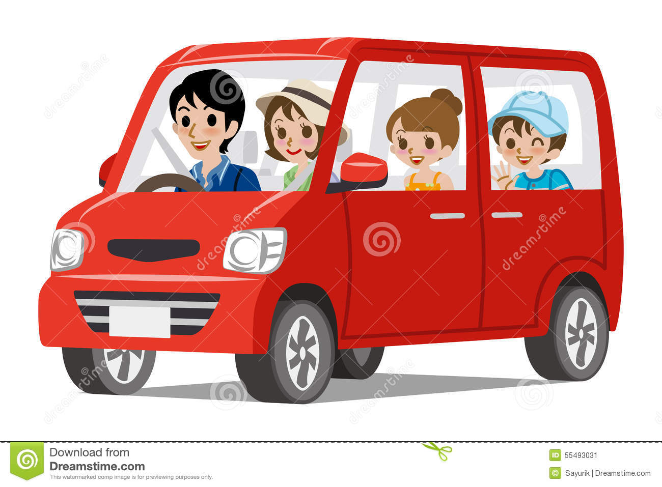Clipart Car With Mother Driving Family