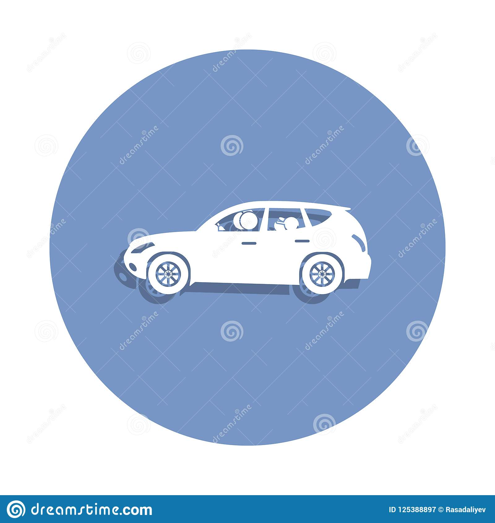 Family In The Car Icon In Badge Style One Of Family Collection Icon