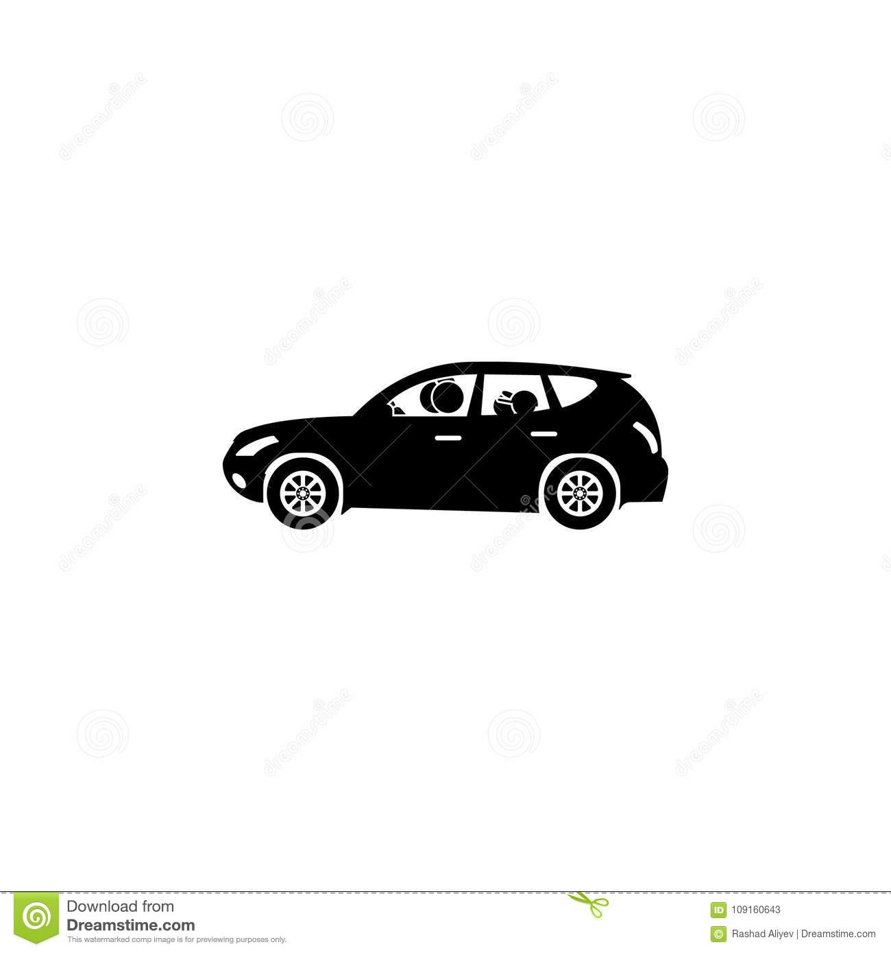 Family In The Car Icon. Elements Of Happy Family Icon. Premium ...